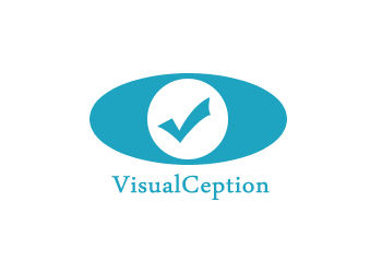 Oval, teal visualception logo reasembling an eye with thick instead of pupil