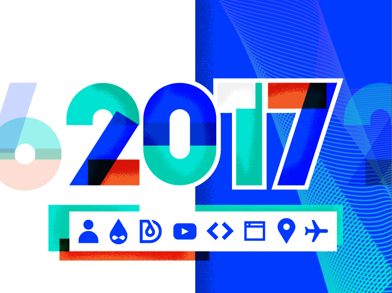 "a colorful ""2017"" visible at the center of the image. Below, Icons symbolysing web development, travel and learning are shown at the grey bar"
