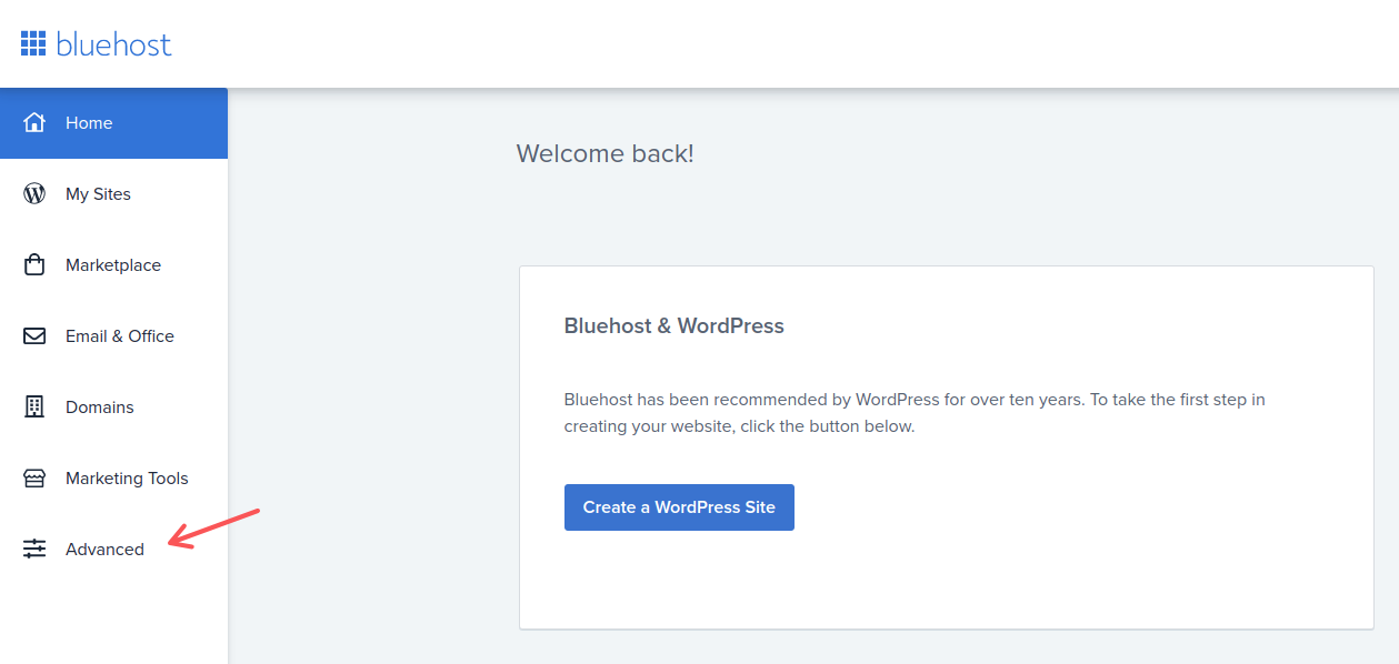 The Advanced tab in Bluehost, where you'll find all the necessary functions for the hosting configuration