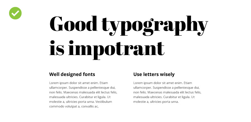 An examle of good typography on the website
