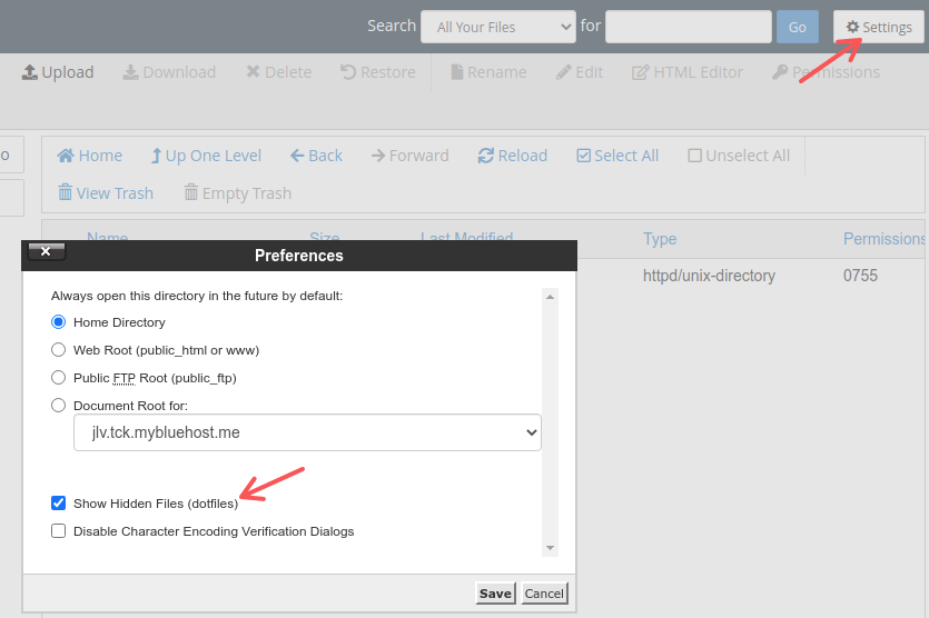 After coming to the Settings section, we can unlock the option to display hidden files