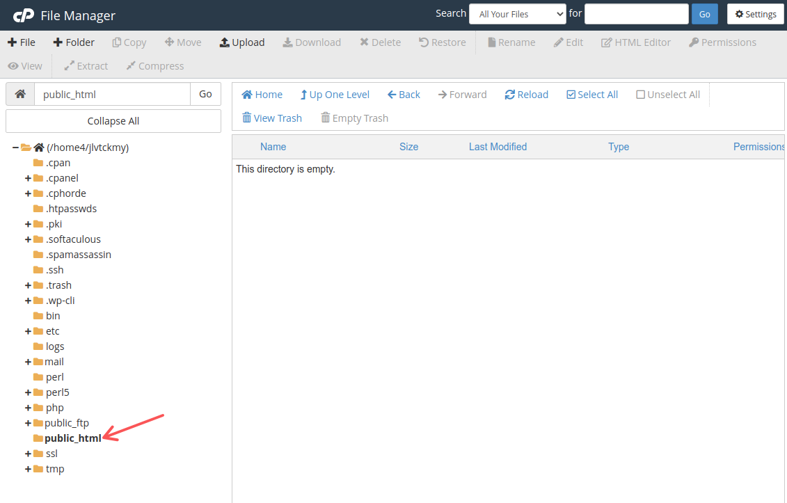 The public_html directory in File Manager in Bluehost