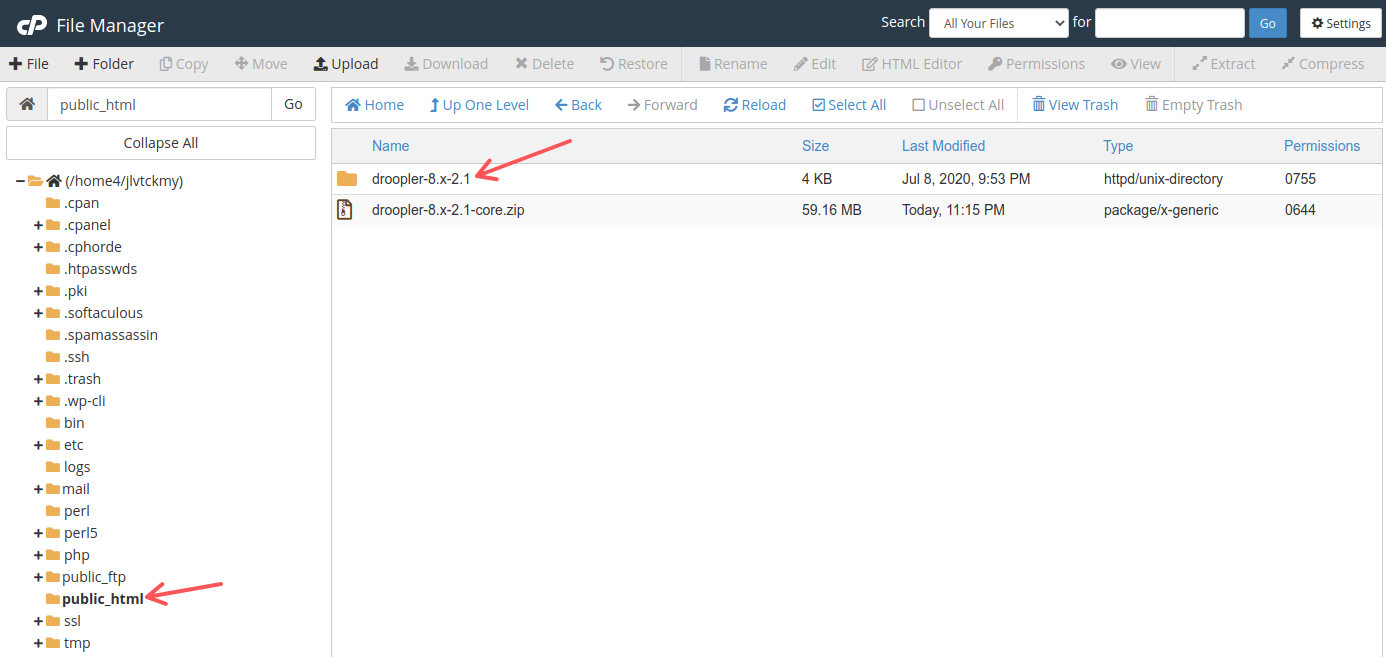 The newly created directory with Droopler in File Manager in Bluehost