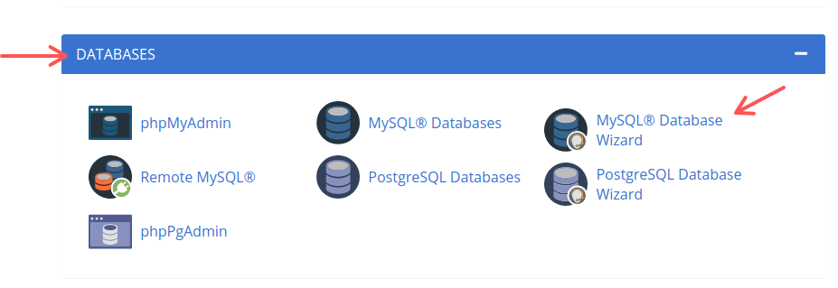 The Databases section in Bluehost