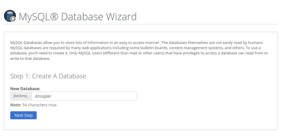 Defining the database name in MySQL Database Wizard