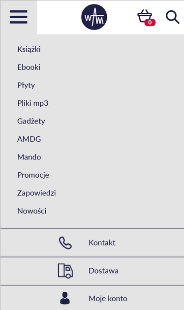 A view of menu for mobile version of the website