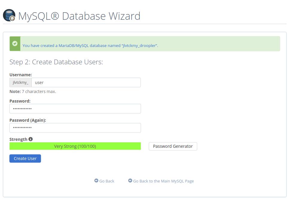 Defining the database users in MySQL Database Wizard