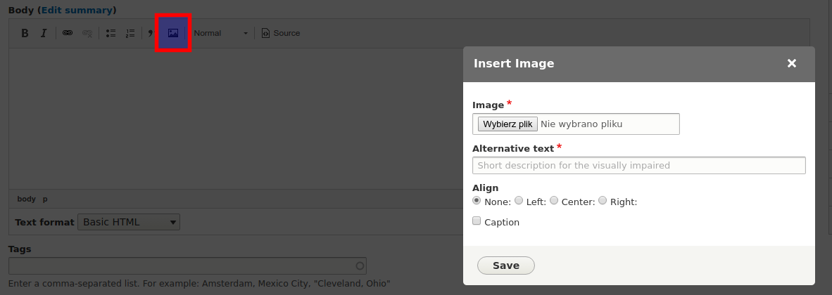 Extended editor with an option of uploading images opened.
