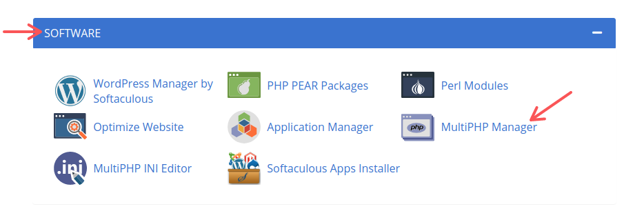 The Software section in the Advanced tab in Bluehost