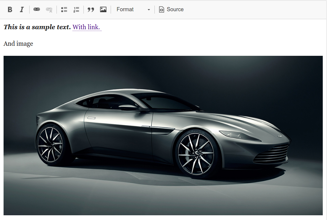 Example of text, link and picture  a sport car in this case - created with CKEditor.