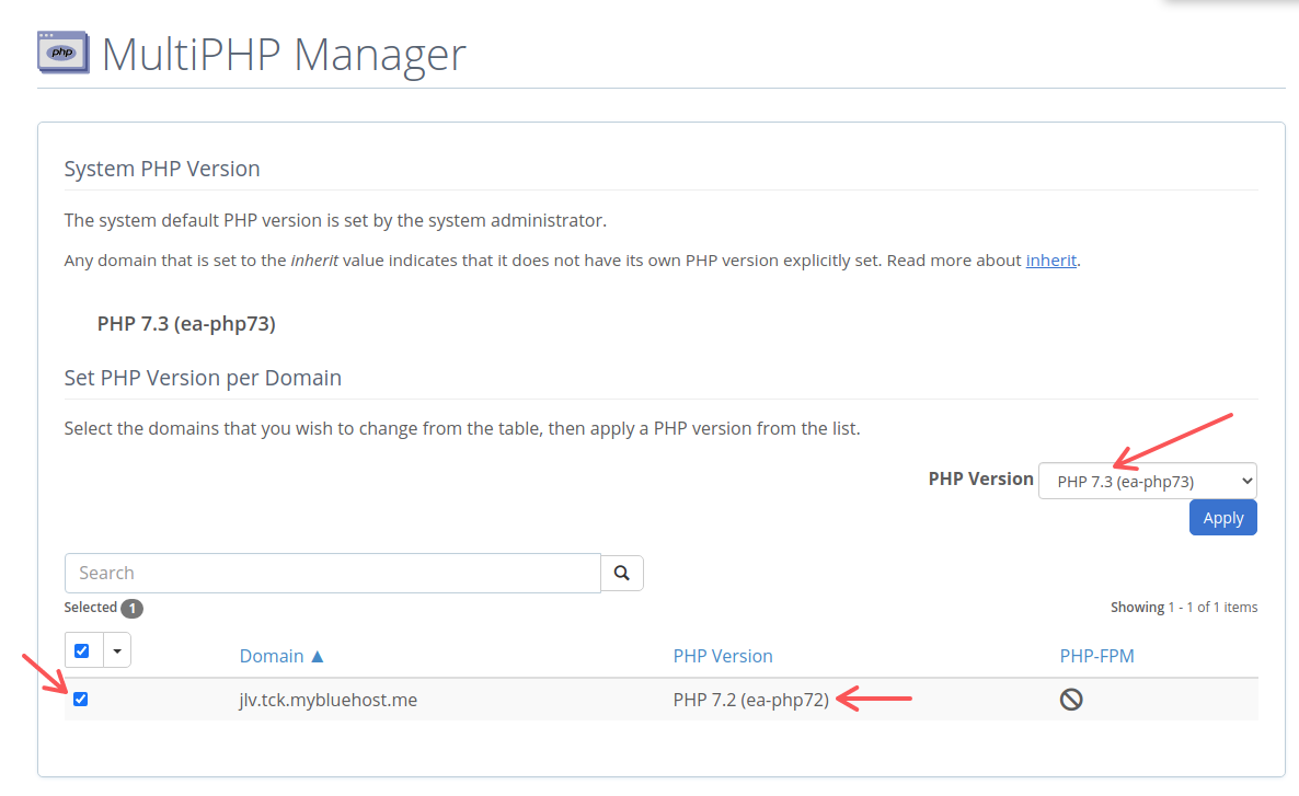 Selecting a specific PHP version in MultiPHP Manager