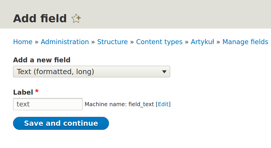 Adding a new field. Option described above is set