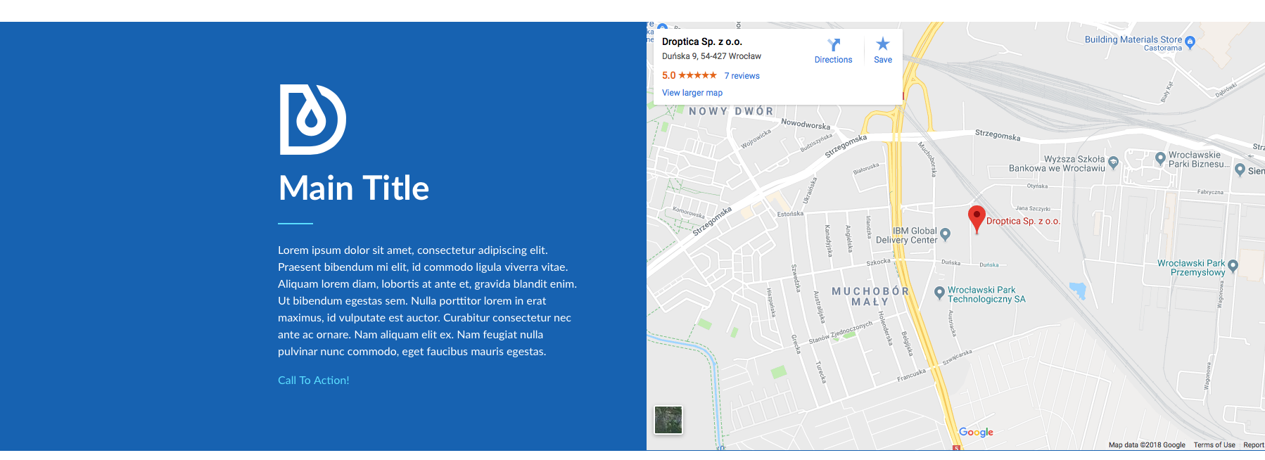 Droopler sidebar with embedded content in form of google map