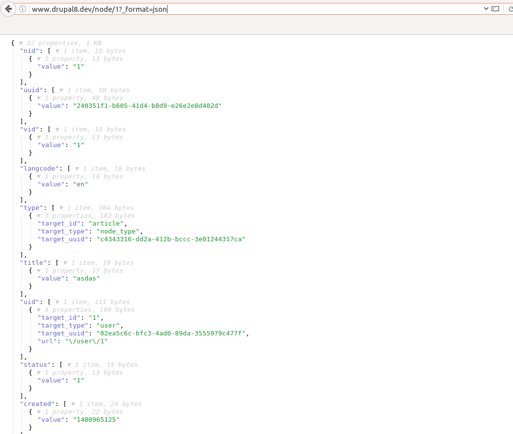drupal node in JSON format
