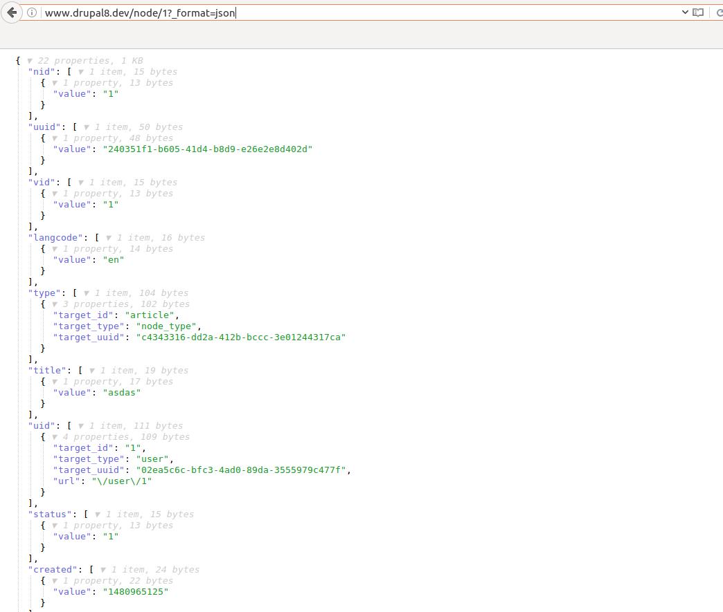 Drupal 8 REST/JSON - integration with simple JavaScript application