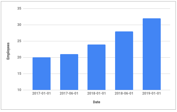 Graph shows the number of people in the team of Droptica - it starts at 20 in January 2017, 32 at the beginning of 2019
