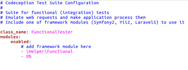 Picture: Db test module enabled in functional.suite.yml file