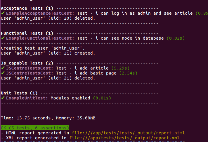Picture: some of executed tests and total time report visible together