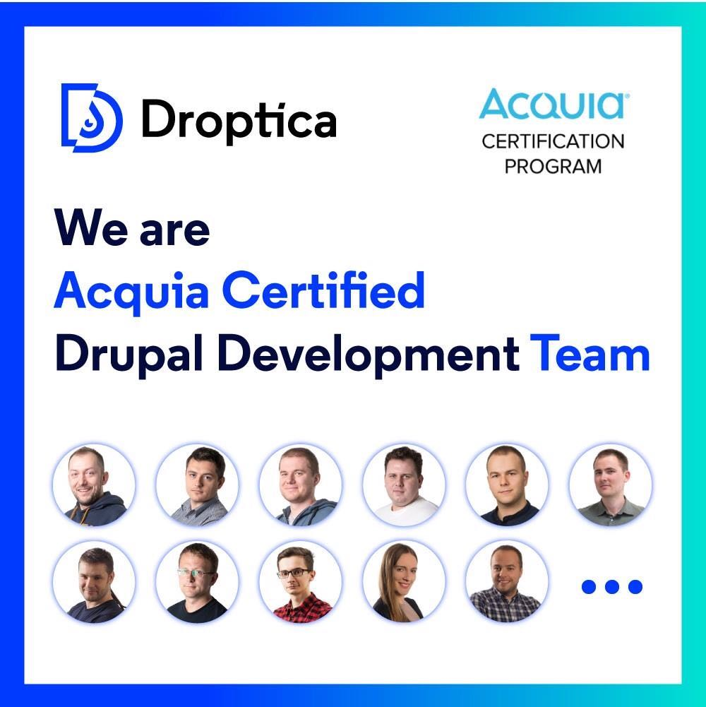 Photos of Droptica developers who passed the Acquia certification exams