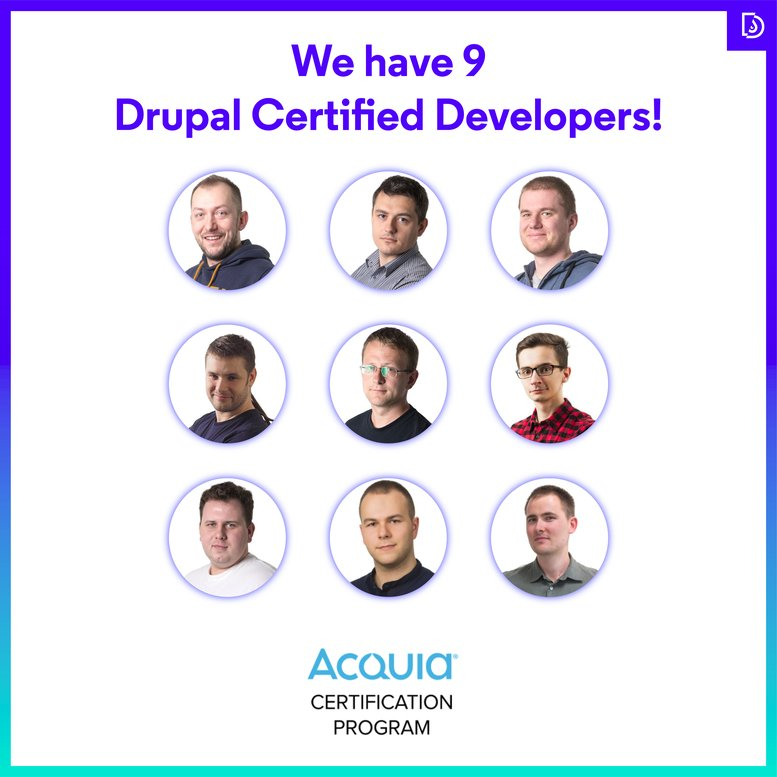 All the Droptica developers that hold Acquia's certificate