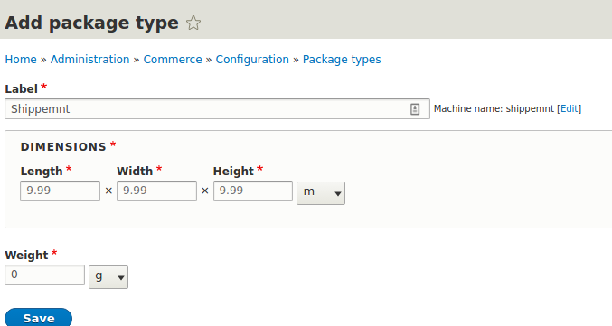 "A view of ""adding the package type"" page"