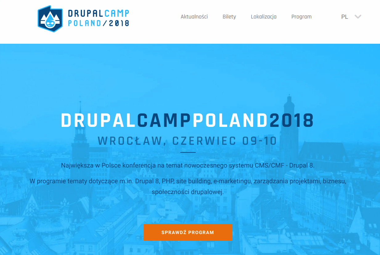 The website of DrupalCamp conference in Wrocław.