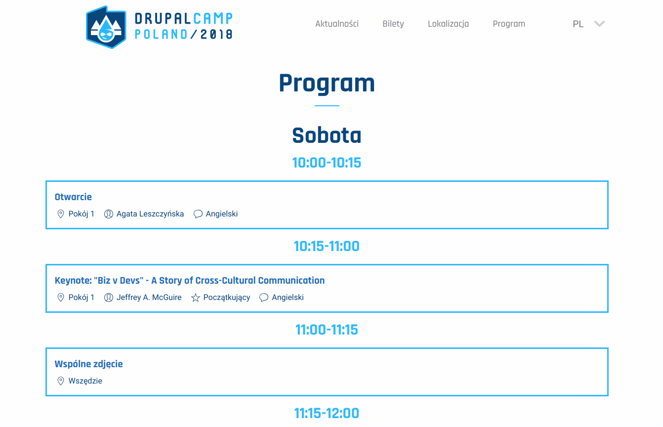The website of DrupalCamp conference in Wrocław. Clean programme was created by less experienced developers