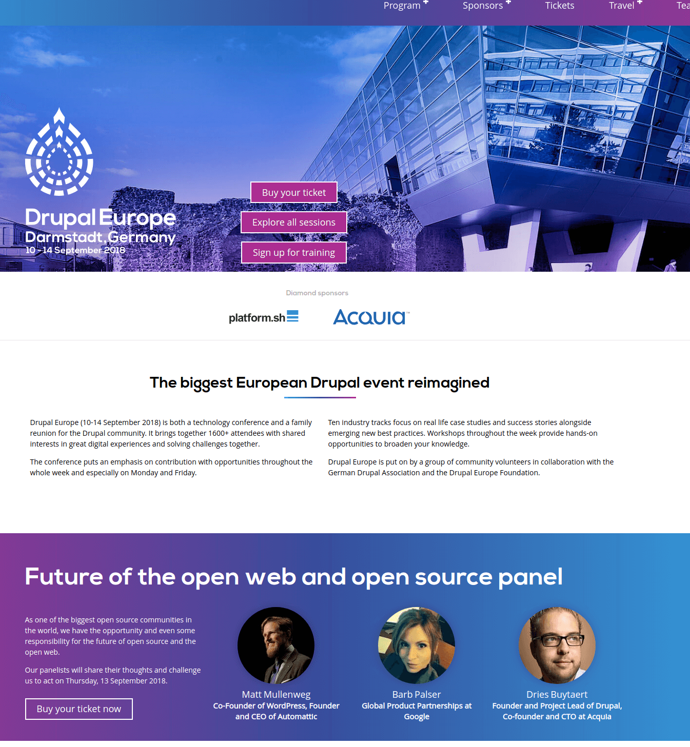 Website of Drupal Europe conference