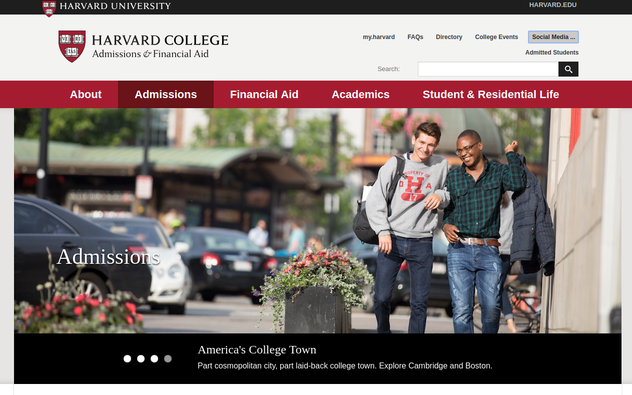 Harvard's admissions page