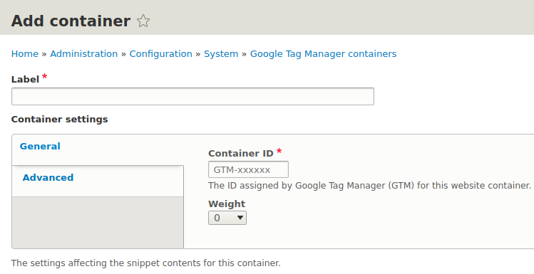 Google Tag Manager - Container add