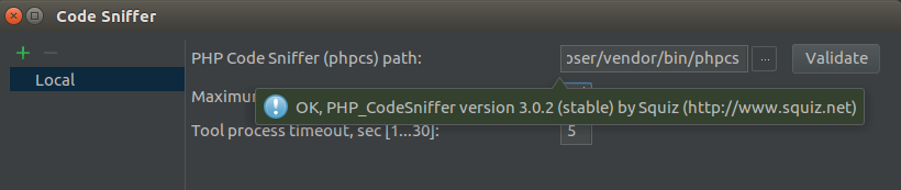 "Validated file. The label ""ok, PHP_CodeSniffer version 3.0.2 (stable) by Squiz (http://squiz.net) visible on the green background, as described in the text."