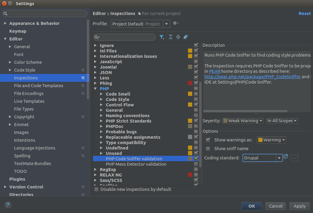 Drupal Coding standards chosen in PHPStorm settings