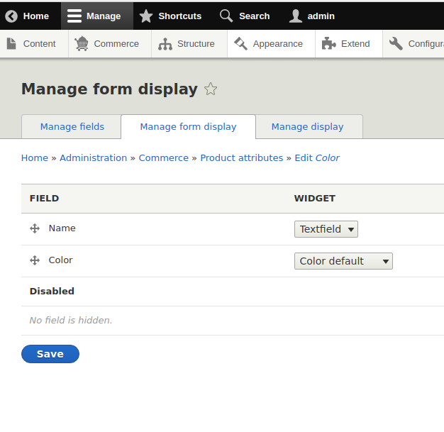 manage form display