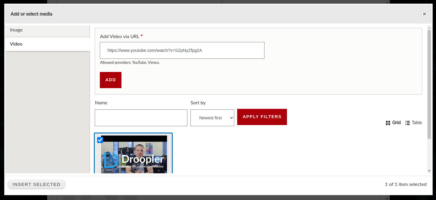 Adding a video in a paragraph with a banner in Droopler