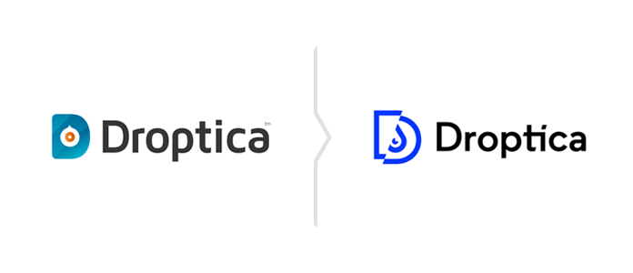 The old Droptica logo at the left, new one at the right.