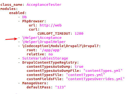 Suite file. Arrow shows line ""\HelperAcceptance"" listed under Enabled modules565|387|?|5eb250ac2ac37e17664401b94df512e8|False|UNLIKELY|0.32312825322151184