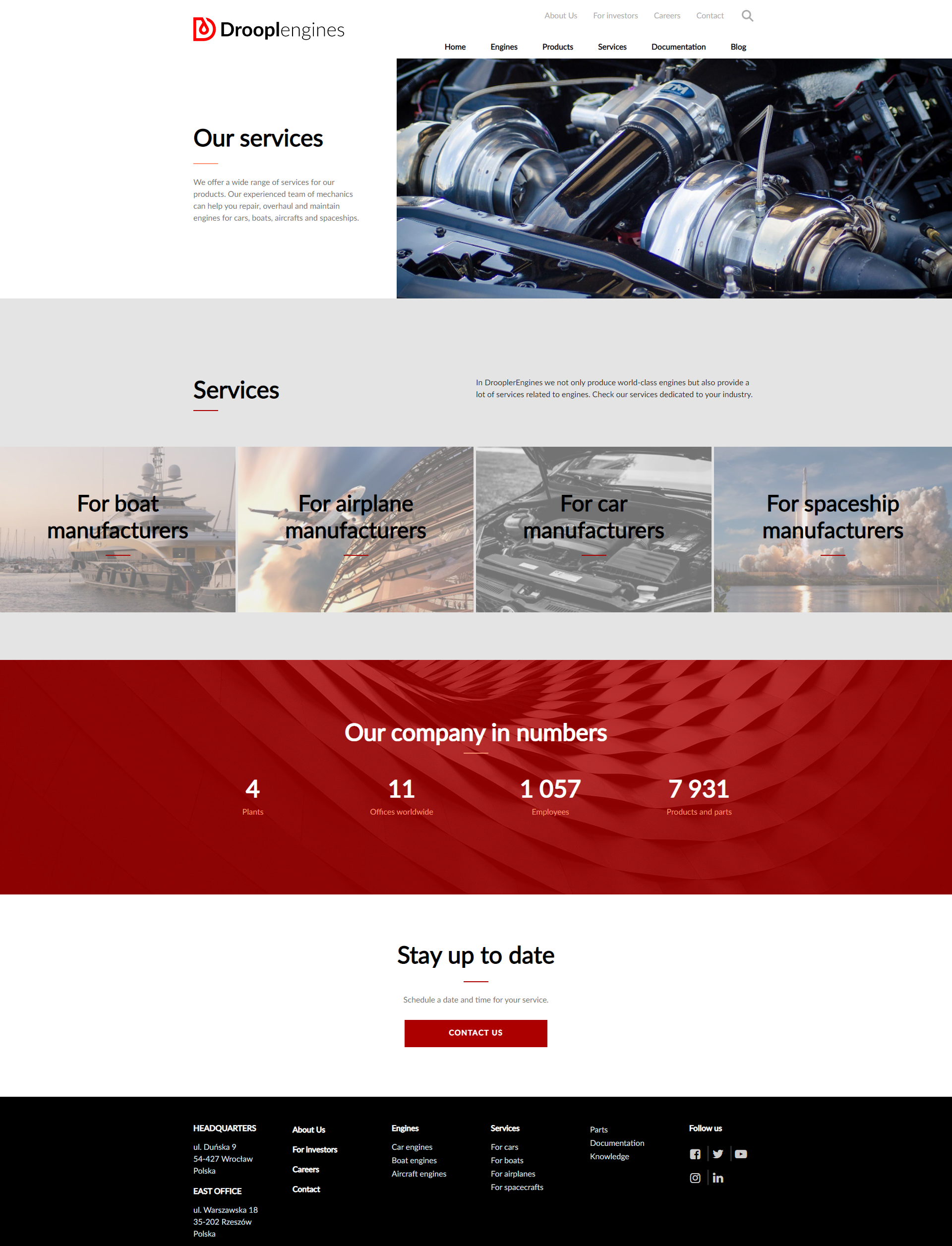 The ready services page in Droopler