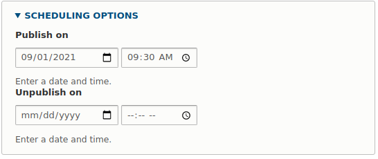 Options for scheduling a publication for a specific date
