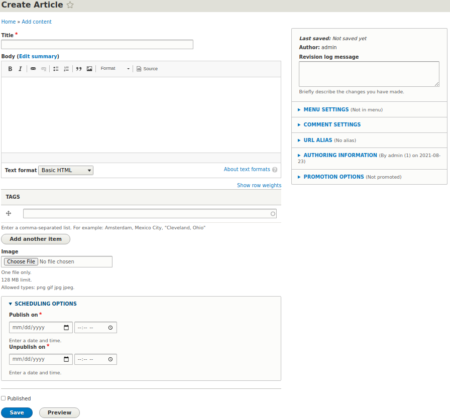Separate fieldset is one of the ways to display Scheduler options