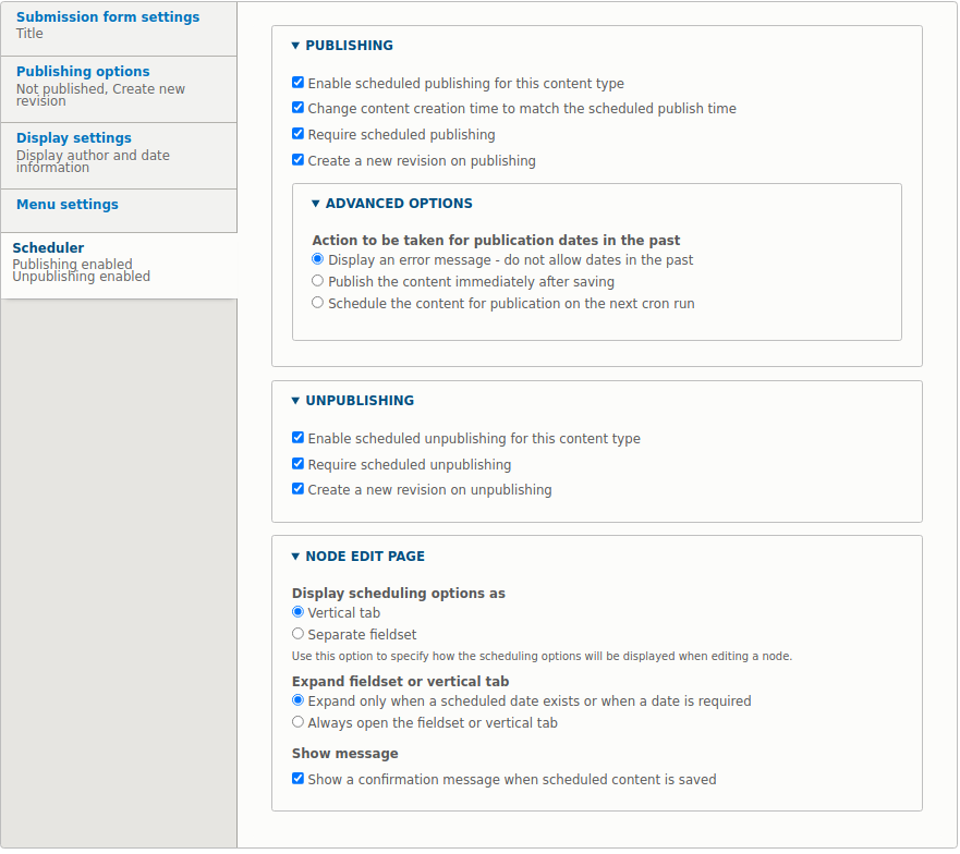 In the Scheduler tab, related to the types of content, you will find all configuration options for the entity