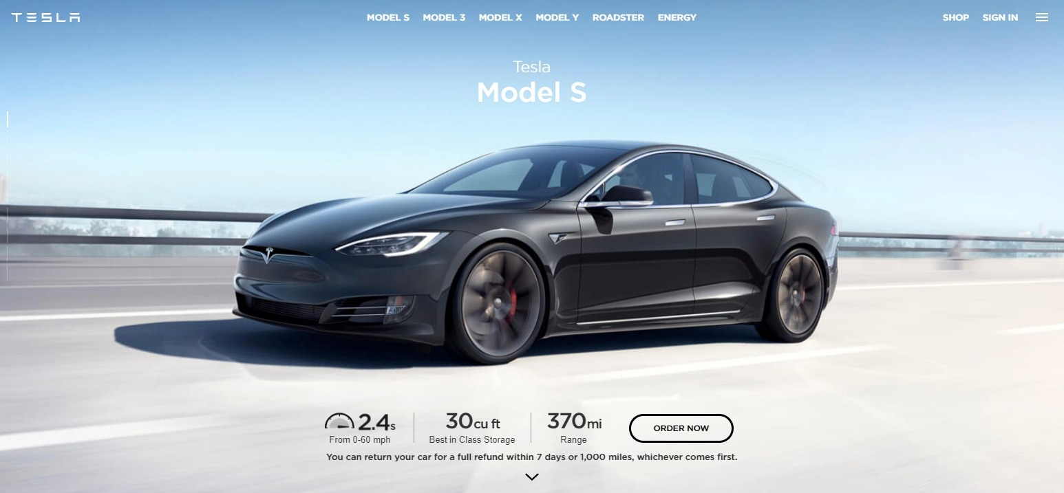 Tesla.com features clear buttons
