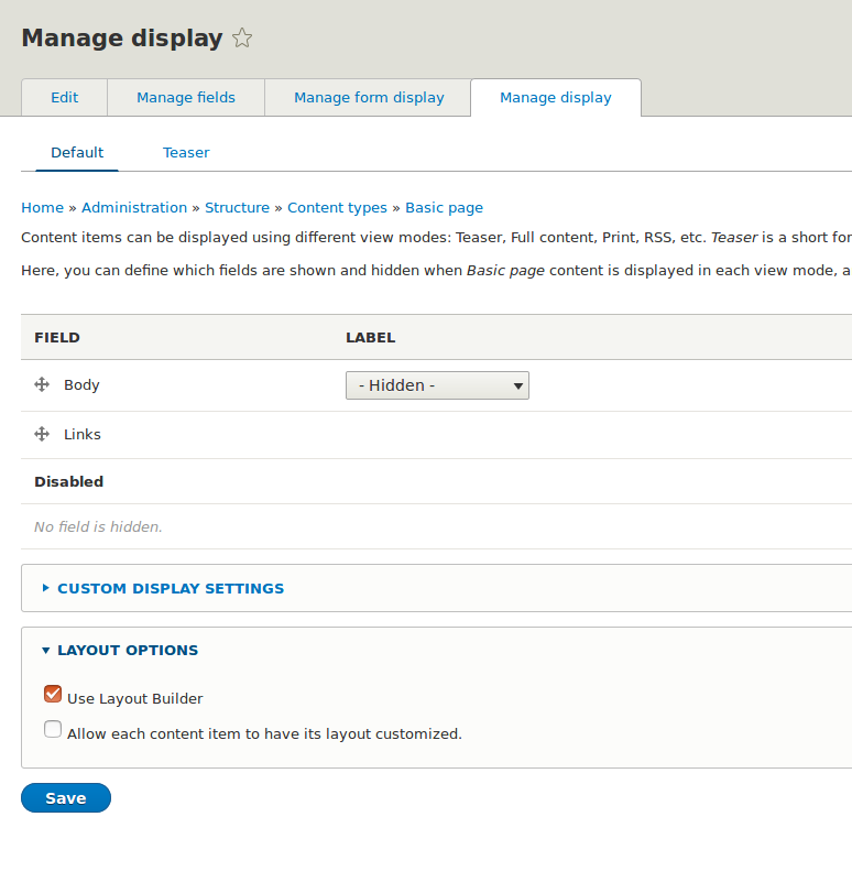 Manage display
