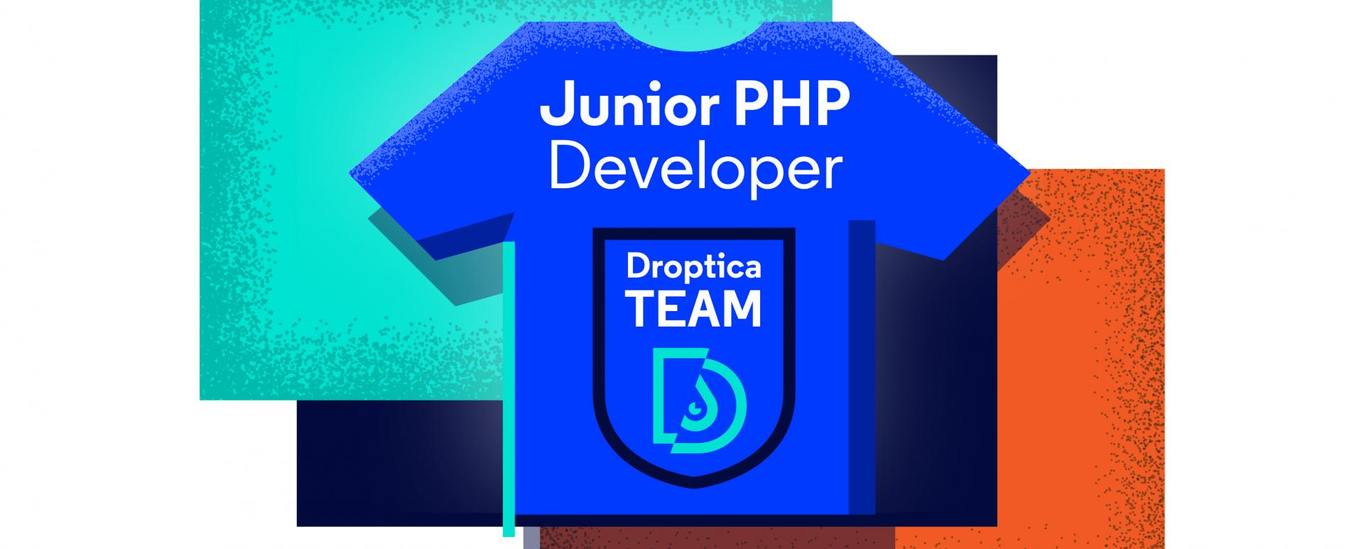 "a blu t-shirt with ""junior PHP"" and Roptica logo printed on it. at the background, three squares, colored orange, black and teal are visible."