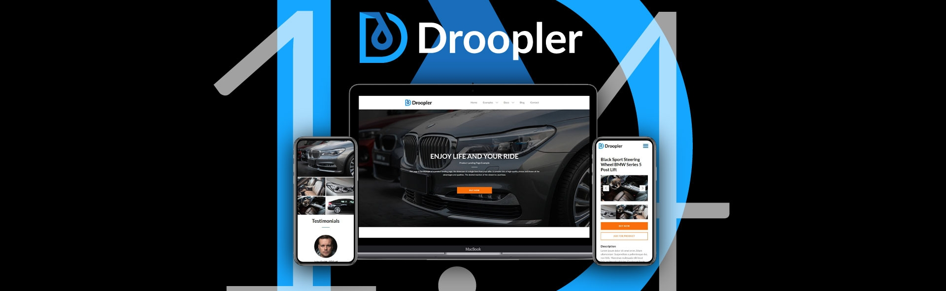 Droopler.1.4 visualisation. Logo of the Drupal distribution in the background.