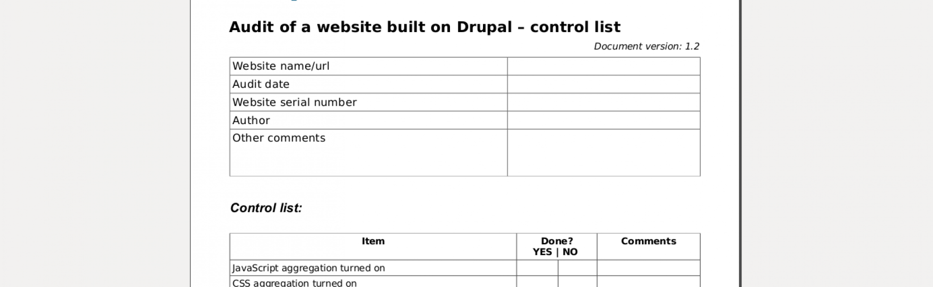 Audit of a Drupal website - control list
