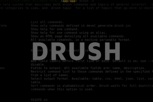 "Grey text ""drush"". In the background: strings of drupal code."