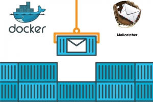 Docker and mailcatcher logo are visible on the opposite sides of an image at the top. They are separated by a grab lifting a unit marked with an envelope from a stack of identical blue containers