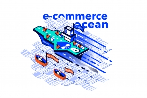 "An aircraft carrier with Drupal logo is sailing on E-commerce ocean. Several carts are ready to take off. Small, rowing boats, labelled ""woocommerce"" and ""magento"" are sailing behind"