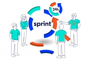 Four people in Droptica's t-shirts are improving the scrum cycle by changing some of it's elements.