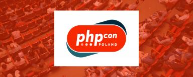 At the background, there's aphoto of conference attendees while listening to a lecture. In the middle - logo of the PHPConPoland 2019 conference